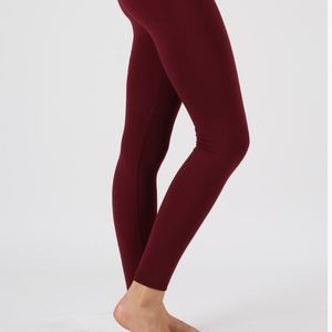 Pants - Dark Burgundy fleece leggings